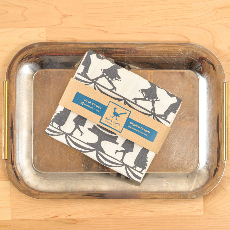Kei & Molly Wedding Linen/Cotton Tea Towel in Grey Folded on Tray