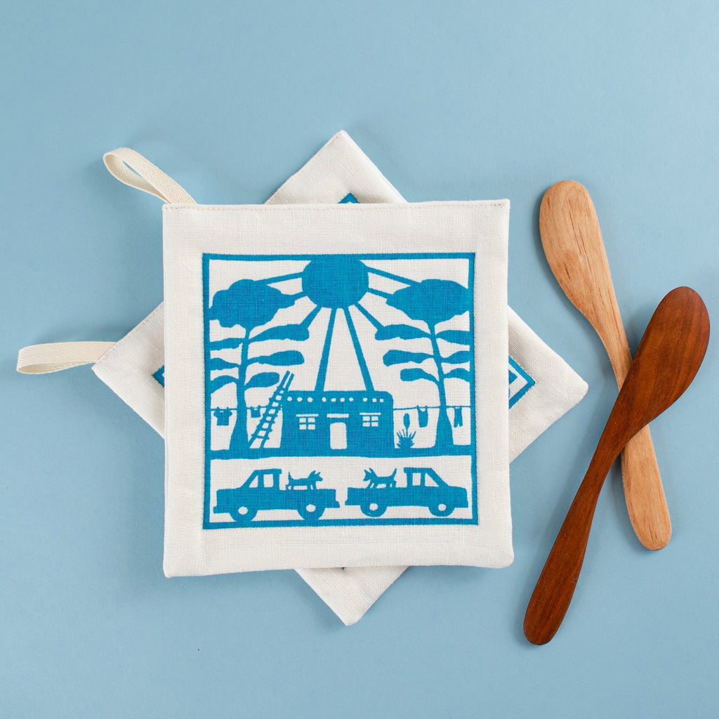 Pot Holder Pair: Adobe House, Turquoise