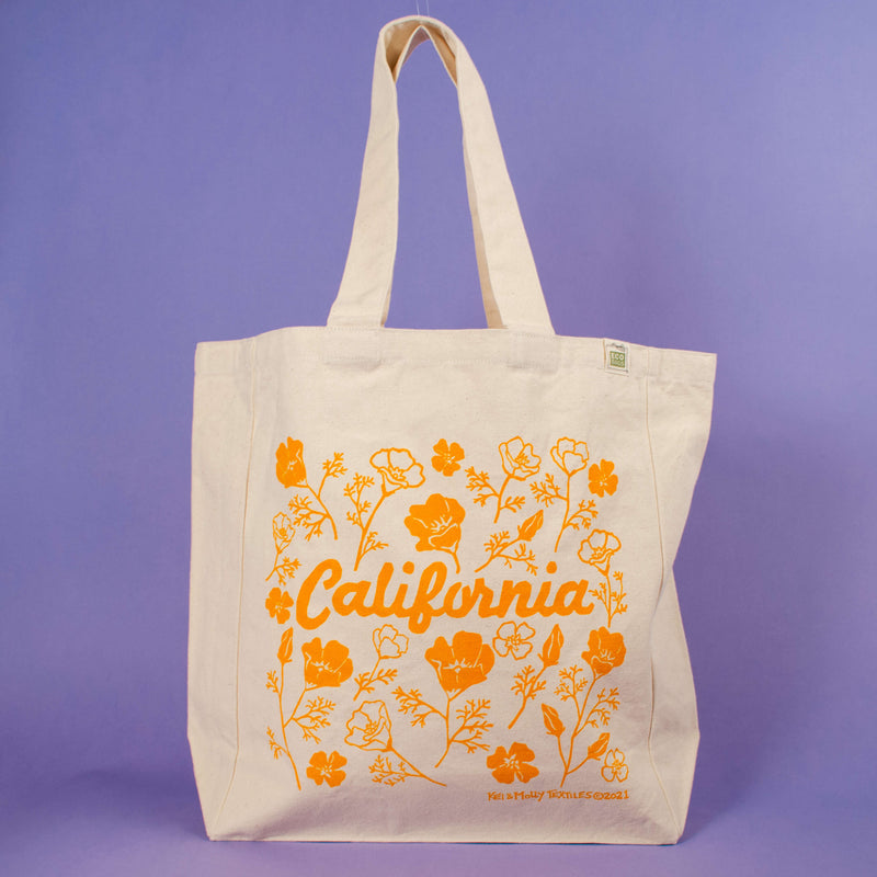 Kei & Molly Tote Bag with Poppies Design in Squash