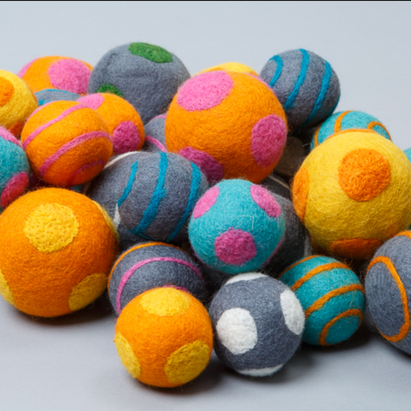 Polka-Dot Boiled Wool Ball: Small