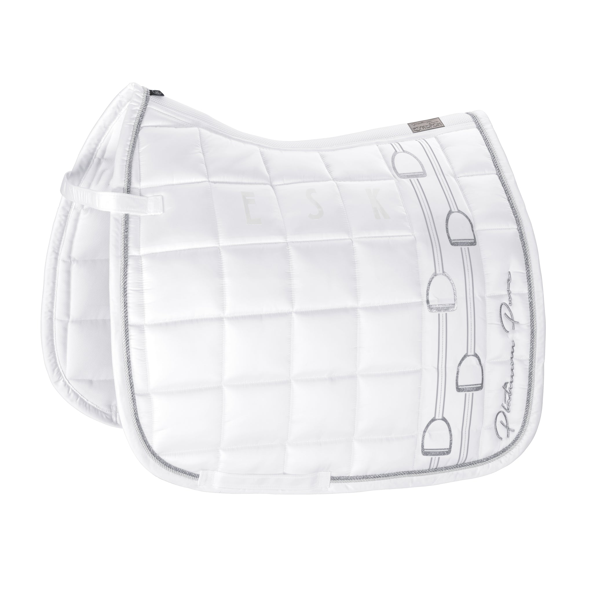 Platinum Pure Glossy Big Square Saddlepad - Dressage White