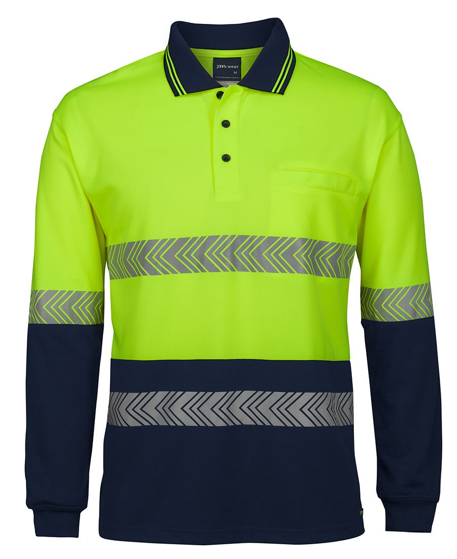 HI VIS L/S SEGMENTED TAPE POLO