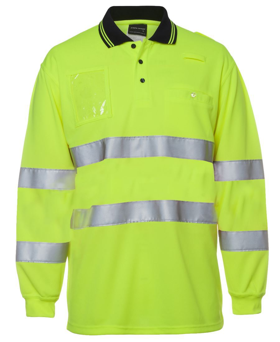 HI VIS BIO MOTION (D+N) L/S POLO WITH REFLECTIVETAPE