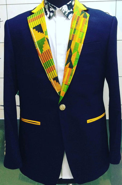 Men's Slim Fit Kente Cloth Blazer - Blue
