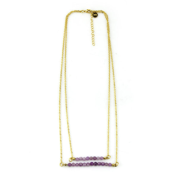 Double Layer Purple Bar Necklace