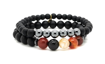 Men's Strength Hematite and Agate Bracelets