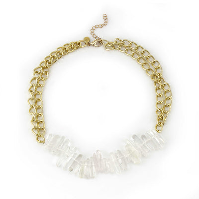 Crystal and Chain Gold Necklace