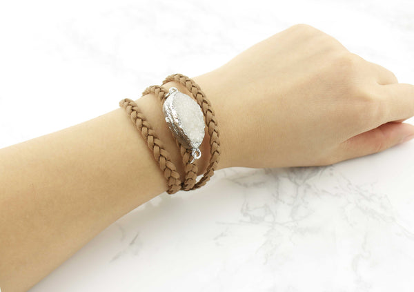 Tan Druzy Leather Wrap