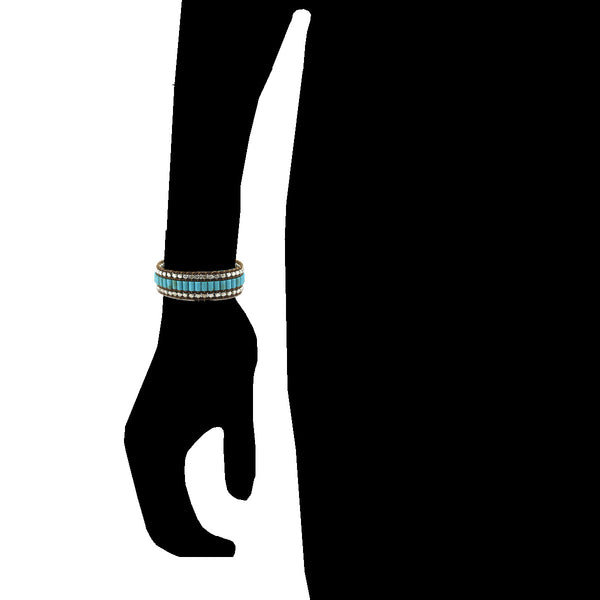 Balla Bohemian Turquoise Bracelet with Brown Leather and Layered Beads