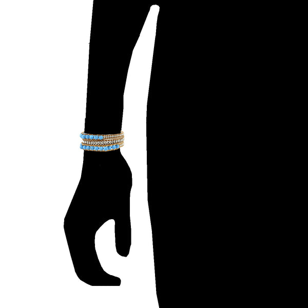 Balla Ocean Turquoise Leather Wrap Bracelet with Layered Beads