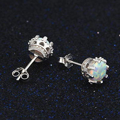 925 Sterling Silver Crown Opal Earrings