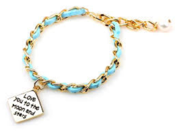 Love You To The Moon & Stars Hand Stamped Bracelet