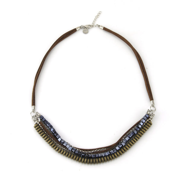 Leather and Beads Layered Neckalce