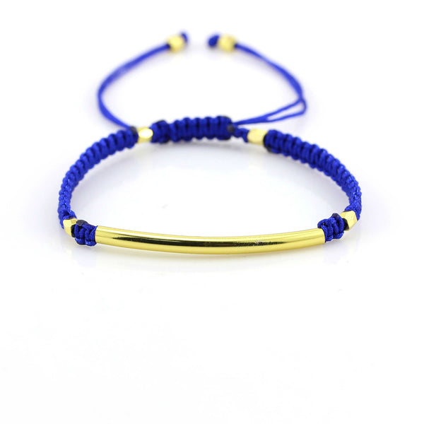 Balla Blue and Gold Farrah Bracelet with Bar Bead and Adustable Fit