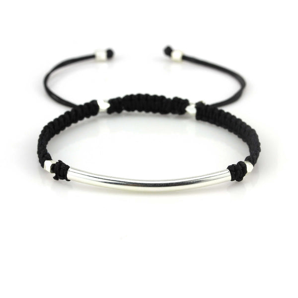 Balla Black & Silver Farrah Bracelet with Bar Bead and Adjustable Fit