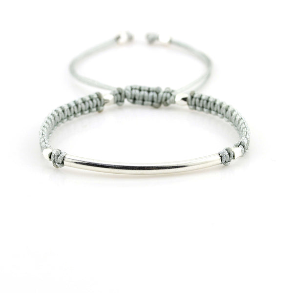 Balla Gray and Silver Farrah Bracelet with Bar Bead and Adustable Fit