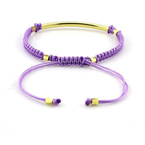 Balla Purple & Gold Farrah Bracelet with Bar Bead and Adjustable Fit