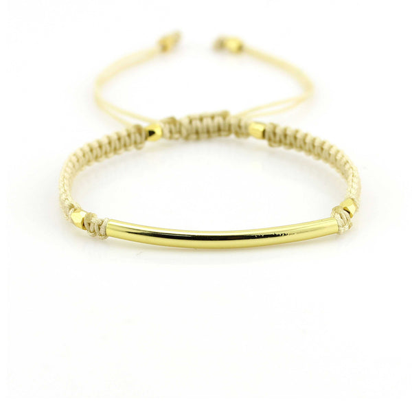 Balla Tan and Gold Farrah Bracelet with Bar Bead and Adustable Fit