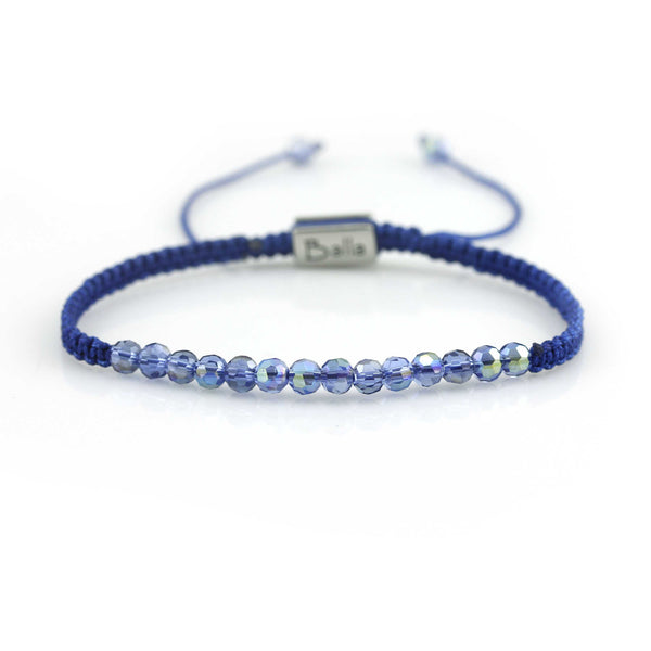 Balla Blue Crystal Transcendence Bracelet with Adustable Fit Cord