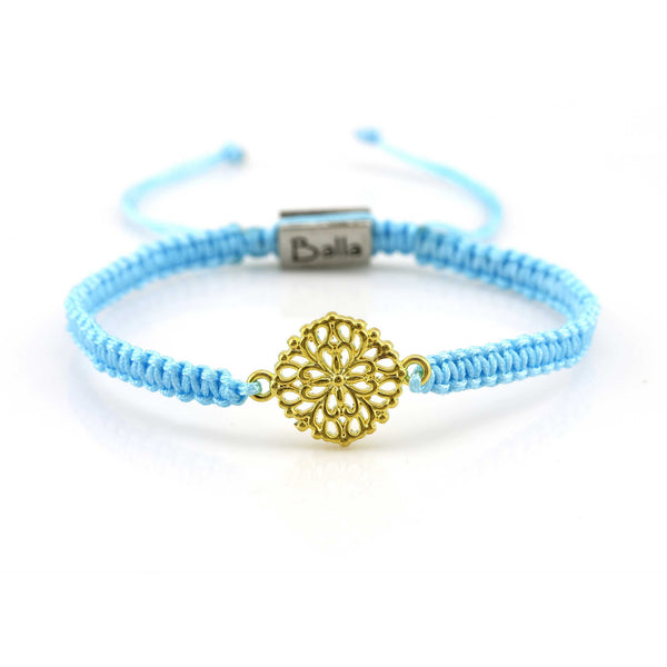 Balla Gold & Blue Euphoria Bracelet with Charm and Adjustable Fit Cord