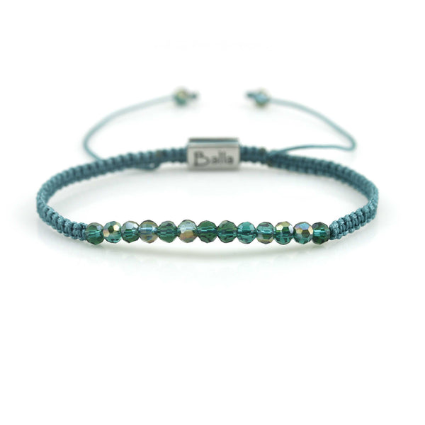 Balla Green Crystal Transcendence Bracelet with Adustable Fit Cord