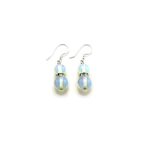 Balla Moonstone Designer Earrings with White Crystals and Silver