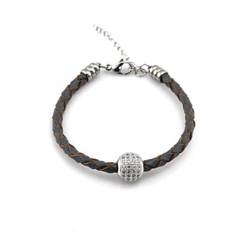 Leather Zircon Balla Bracelet