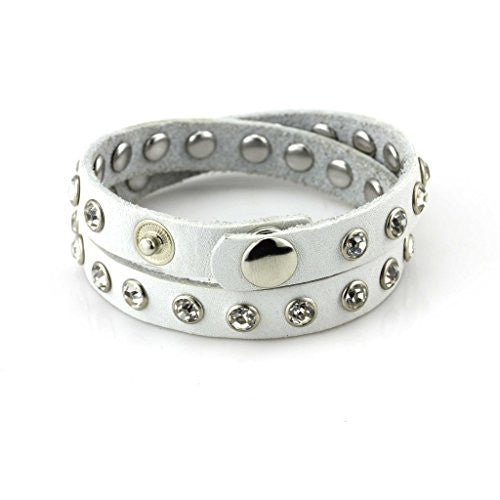 Balla White Studded Leather Wrap Bracelet with White Crystals