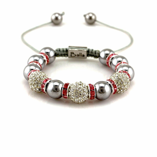 Balla Pink and White Crystal Beaded and Silver Hematite Bracelet
