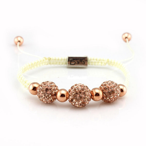 Balla Trinity Rose Gold Bracelet with Austrian Crystals and Gold Beads