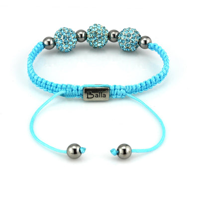 Blue Trinity Balla Bracelet with Silver and Austrian Crystal Beads
