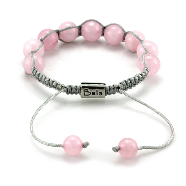 Balla Mantra Pink Quartz Bracelet with Marbled Beads and Gray Cord