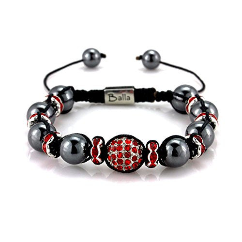 Balla Vinyasa Power Bracelet with Magnetic Hematite and Red Gem Beads