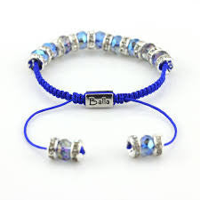 Blue Enchantment Balla Bracelet with Crystal and Iridescant Blue Beads