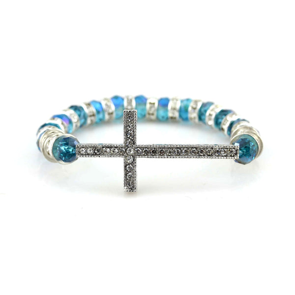 Balla Halo Honesty Bracelet with Blue and Silver Beads and Cross