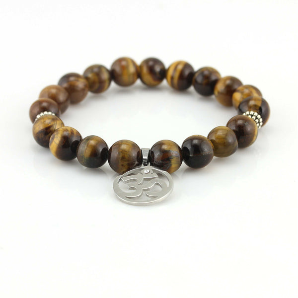 Balla Natural Brown Tiger Eye Bead Bracelet with Silver Ohm Charm