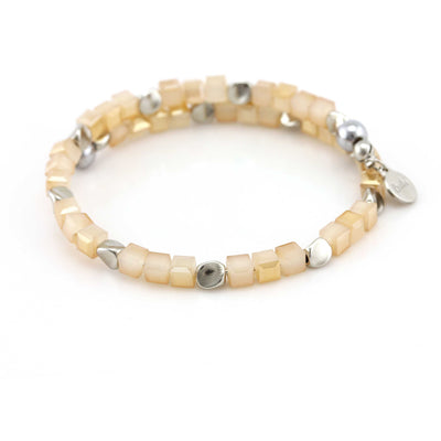 Balla Sacred Sands Bracelet with Layered Silver and Square Cream Beads
