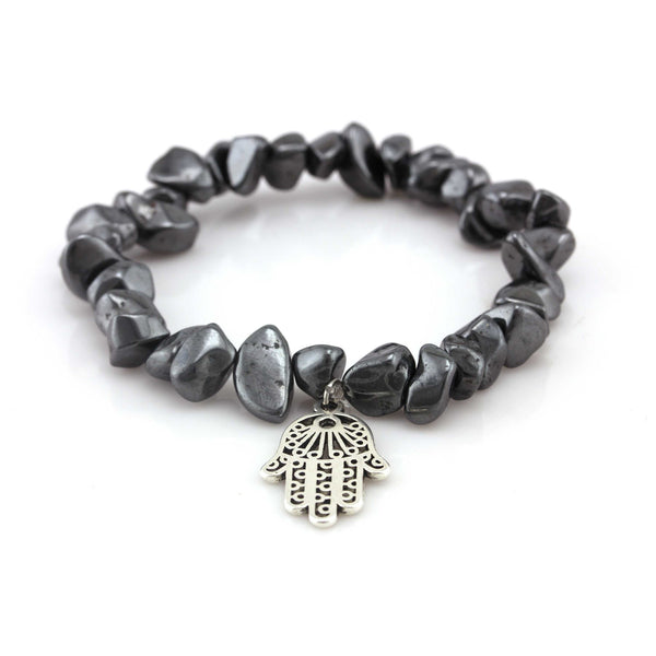 Balla Protection Hamsa Bracelet with Hematite Beads and Silver Charm