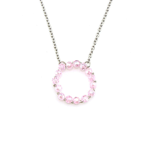 Balla Silver and Pink Crystal Open Circle Pendant Necklace