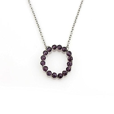 Balla Purple Amethyst Open Circle Pendant with Silver Chain