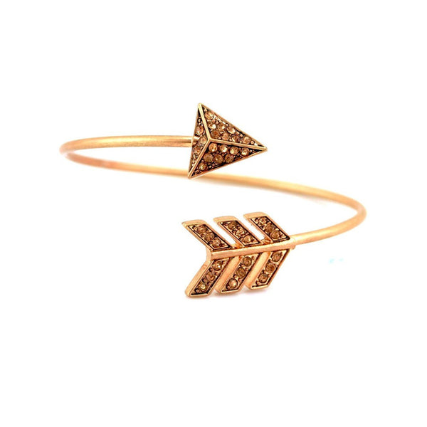 Balla Austrian Crystal and Gold Arrow Bangle Bracelet