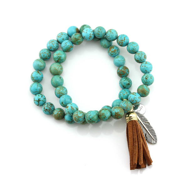 Balla New Moon Tassel Bracelet with Turquoise Beads and Feather Charm