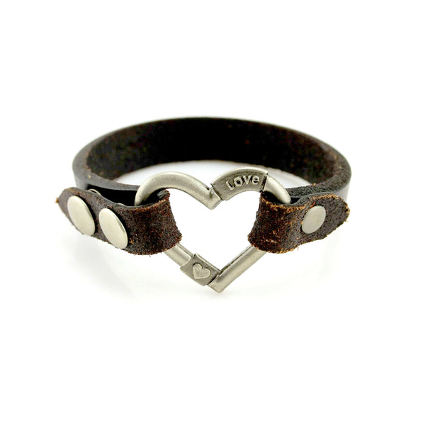 Balla Stamped Heart Leather Bracelet with Silver Snap Closure