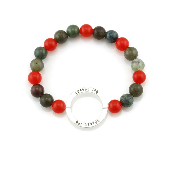 Balla Multi-Colored Choose Joy Beaded Bracelet with Silver Charm
