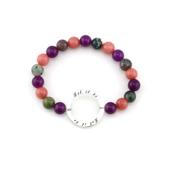 Balla Multi-Colored Let it Be Beaded Bracelet with Silver Charm