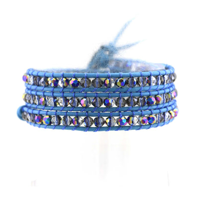 Balla Dancing Waters Blue Leather Wrap Bracelet with Layered Beads