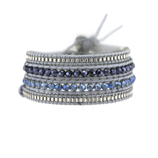Balla Blue and Silver Galaxy Wrap Braclet with Gray Leather Cord