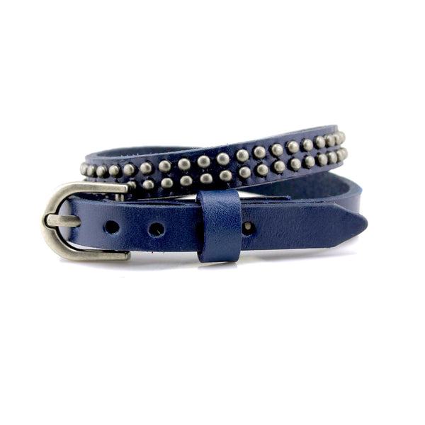 Balla Navy Studs and Buckle Leather Wrap Bracelet with Silver Accents