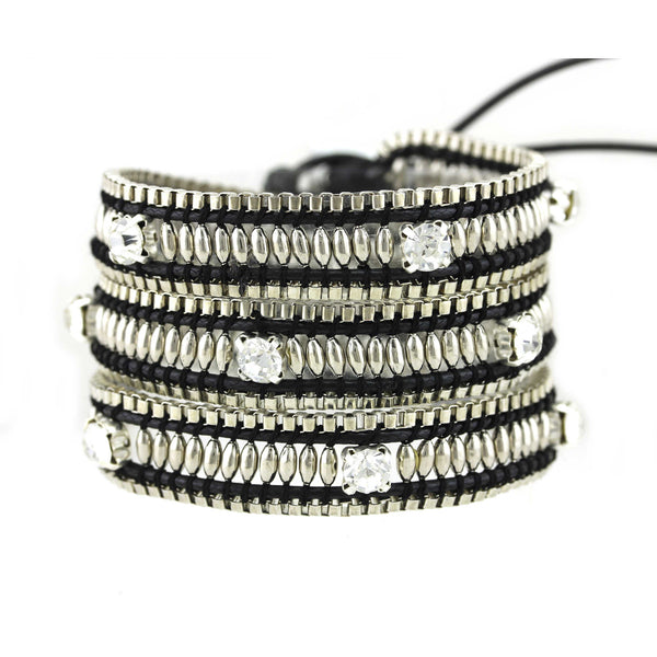 Balla Yoga & Shine Leather Wrap Bracelet with Layered Silver Beads