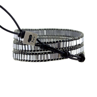 Balla Heavenly Hematite Leather Wrap Bracelet with Layered Beads
